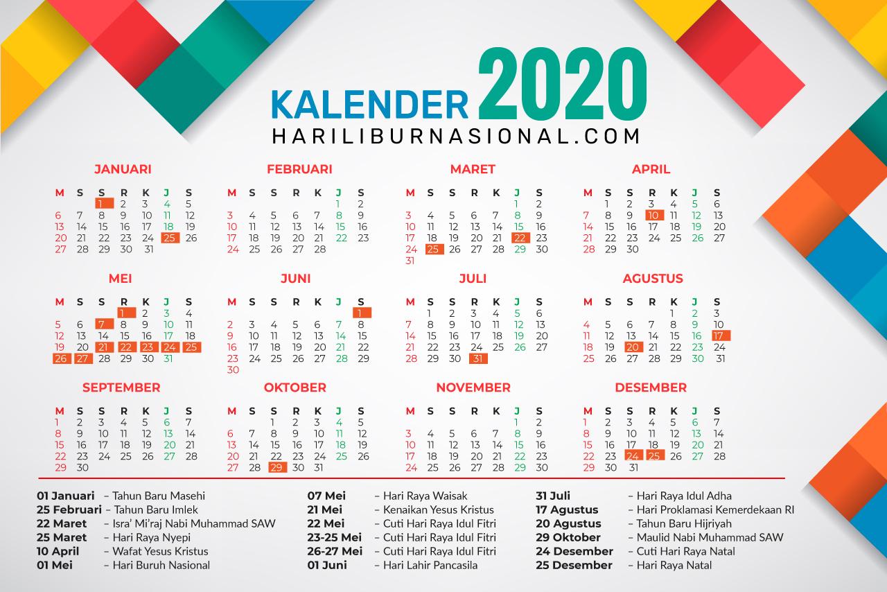 Kalender Tahun 2020 Lengkap Dengan Hari Libur Nasional Youtube