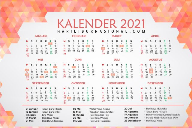 Kalender Hari Libur Nasional 2021 - Hari Libur Nasional